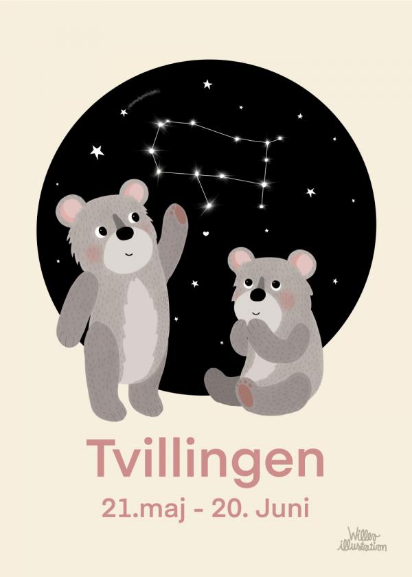 Stjernetegn tvilling - Børneplakat