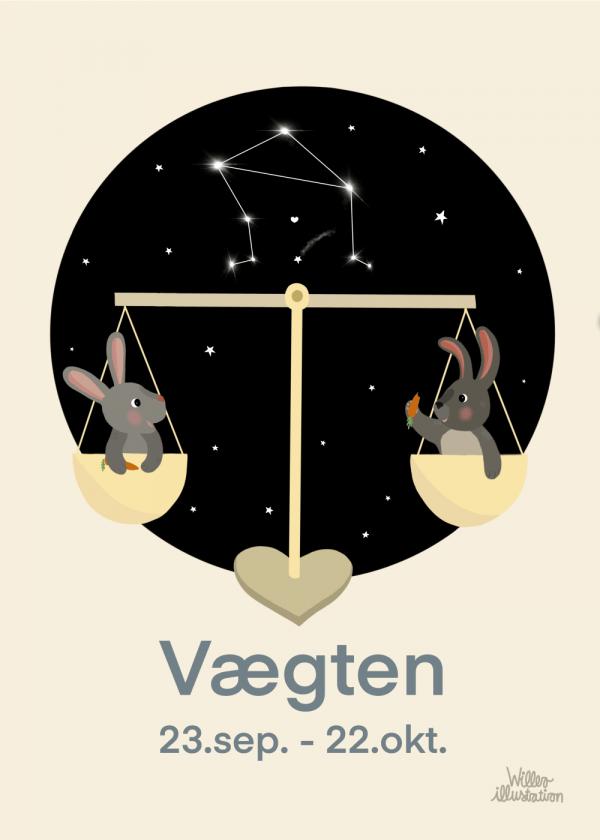 Stjernetegn vægt - Børneplakat