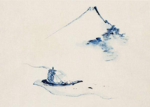 A Small boat on a river - Japansk kunstplakat