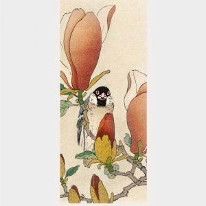 A sparrow on a blooming magnolia - Japansk kunst plakat