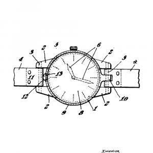 Armbåndsur plakat - Original patent tegning