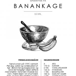 Banankage opskrift - Kage guide plakat