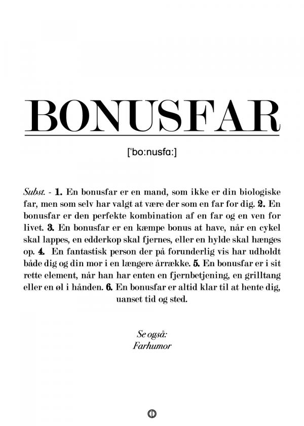 Bonusfar definition - plakat