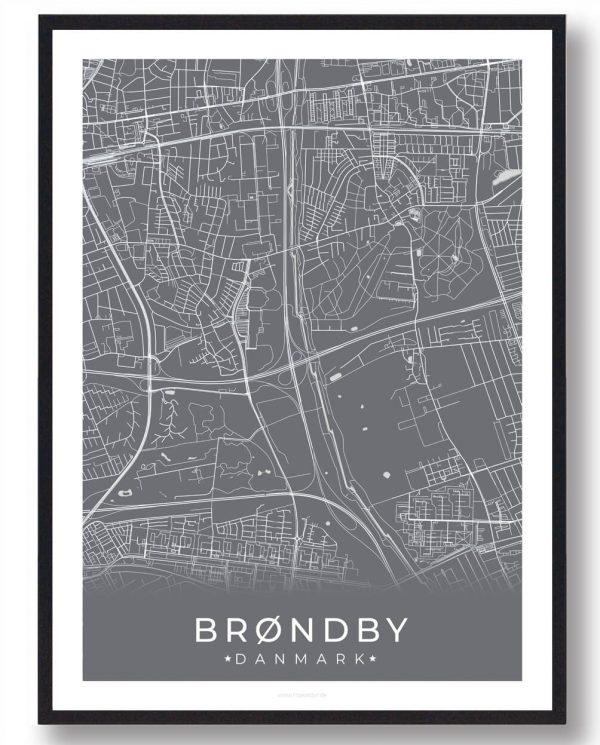 Brøndby plakat - grå