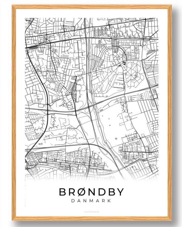 Brøndby plakat - hvid