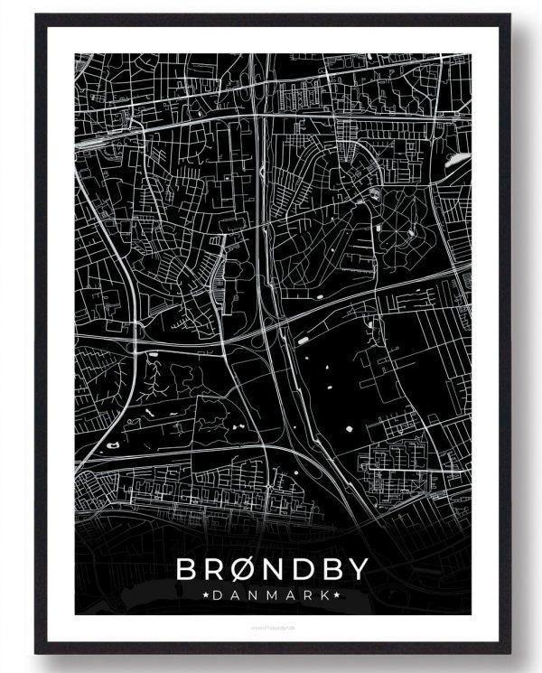 Brøndby plakat - sort