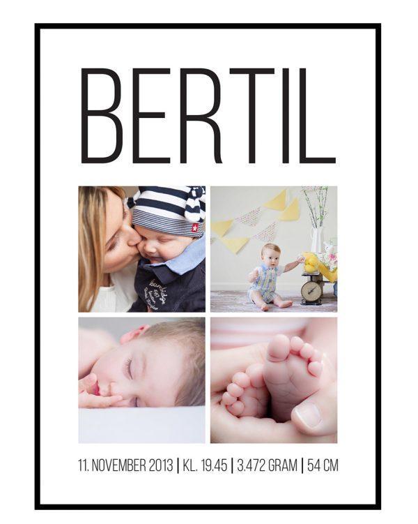 Dåb og fødselscollage med 4 billeder - vi designer for dig