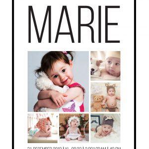 Dåb og fødselscollage med 5+1 billeder - vi designer for dig