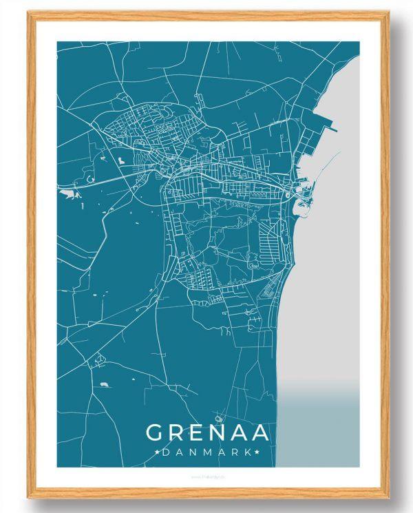 Grenaa plakat - blå