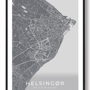 Helsingør plakat - grå