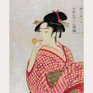 Japanese woman blowing a glass pibe - Japansk kunstplakat