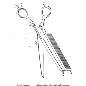 Kombineret kam og saks plakat - Original patent tegning