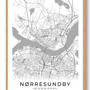Nørresundby plakat - hvid