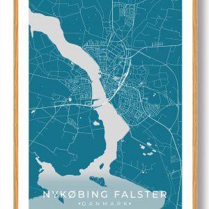 Nykøbing Falster plakat - blå