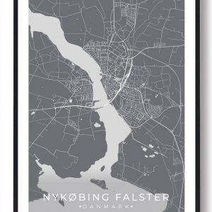 Nykøbing Falster plakat - grå