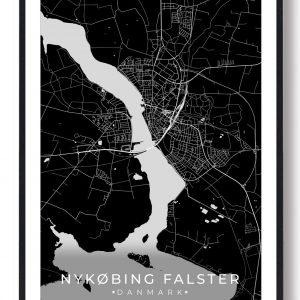Nykøbing Falster plakat - sort