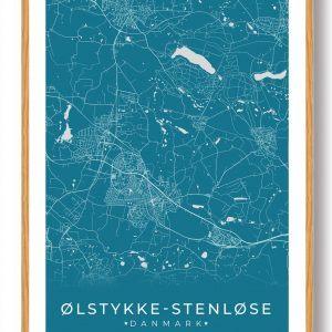 Ølstykke-Stenløse plakat - blå