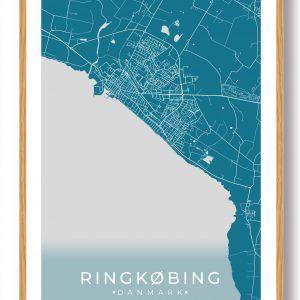 Ringkøbing plakat - blå