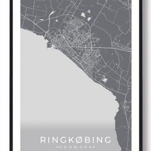 Ringkøbing plakat - grå