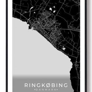 Ringkøbing plakat - sort