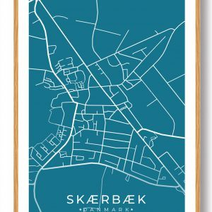 Skærbæk byplakat - blå