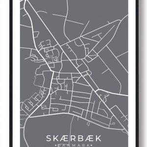 Skærbæk byplakat - grå