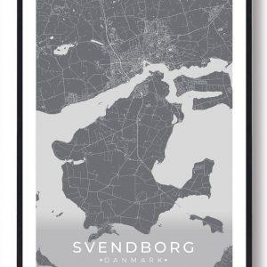 Svendborg plakat - grå