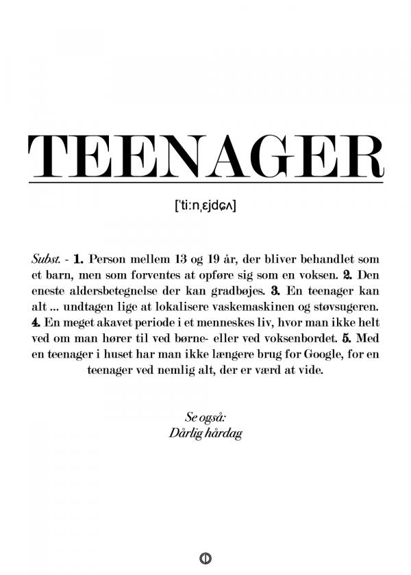 Teenager definition - plakat