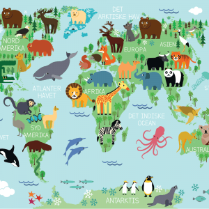Verdenskort plakat med dyr til børn