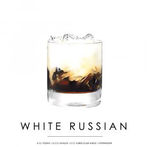 White Russian opskrift - Cocktail plakat