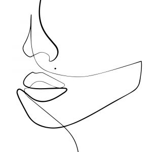 Womans face in one line plakat