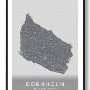 Bornholm plakat (grå)