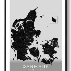 Danmark plakat - sort