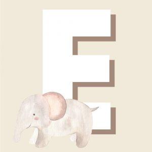 E - Børneplakat med bogstav