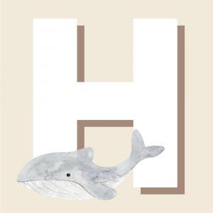 H - Børneplakat med bogstav