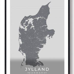 Jylland plakat - grå