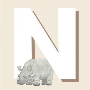 N - Børneplakat med bogstav