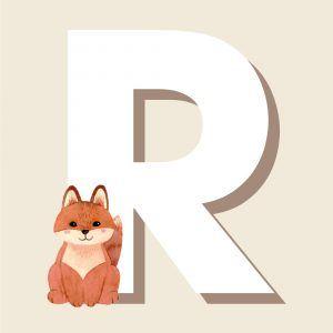 R - Børneplakat med bogstav