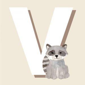 V - Børneplakat med bogstav