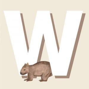 W - Børneplakat med bogstav