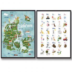 Danmark + ABC - håndtegnede plakat