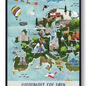 Europakort - håndtegnet plakat