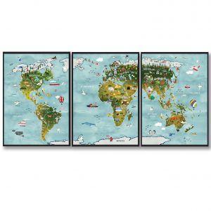 Verdenskort til børn - håndtegnet plakat (3 delt)