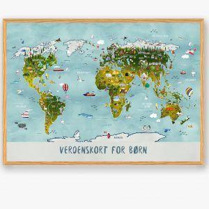 Verdenskort til børn - håndtegnet plakat